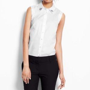 Ann Taylor | Embellished Cotton Sleeveless Shirt